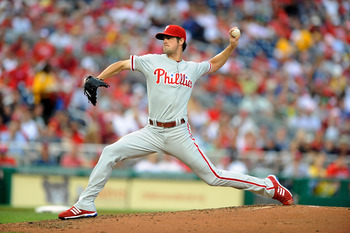 WASHINGTON - AUGUST 01:  Cole Hamels #35 of the Philadelphia Phillies pitches against the Washington Nationals at Nationals Park on August 1, 2010 in Washington, DC.  (Photo by Greg Fiume/Getty Images)