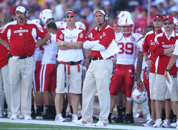 SEATTLE - SEPTEMBER 18: Head coach Bo Pelini of the Nebraska Cornhuskers looks on against the Washington Huskies on September 18, 2010 at Husky Stadium in Seattle, Washington. (Photo by Otto Greule Jr/Getty Images)
