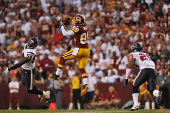 LANDOVER - SEPTEMBER 19:  Santana Moss #89 of the Washington Redskins makes a catch on a play that was called back during the game against the Houston Texans at FedExField on September 19, 2010 in Landover, Maryland. The Texans defeated the Redskins 30-27