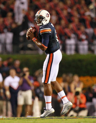 AUBURN, AL - SEPTEMBER 18:  Quarterback Cameron Newton #2 of the Auburn Tigers looks to pass against the Clemson Tigers at Jordan-Hare Stadium on September 18, 2010 in Auburn, Alabama.  (Photo by Kevin C. Cox/Getty Images)