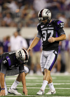 ARLINGTON, TX - SEPTEMBER 04:  Kicker Ross Evans #37 of the TCU Horned Frogs at Cowboys Stadium on September 4, 2010 in Arlington, Texas.  (Photo by Ronald Martinez/Getty Images)