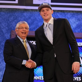 NEW YORK - JUNE 24:  Luke Babbitt stands with NBA Commisioner David Stern after being drafted sixteenth by The Minnesota Timberwolves  at Madison Square Garden on June 24, 2010 in New York, New York.  (Photo by Al Bello/Getty Images)