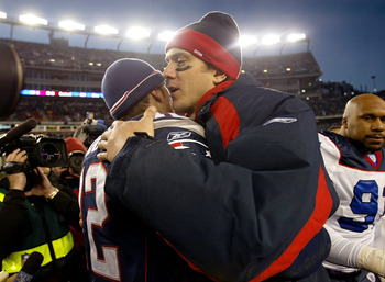 FOXBORO, MA - DECEMBER 27:  Drew Bledsoe #11 of the Buffalo Bills congratulates Tom Brady #12 of the New England Patriots after they beat the Buffalo Bills 31-0 on December 27, 2003 at Gillette Stadium in Foxboro, Massachusetts in Landover, Maryland. (Pho