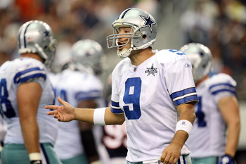 ARLINGTON, TX - SEPTEMBER 19:  Quarterback Tony Romo #9 of the Dallas Cowboys reacts during play against the Chicago Bears at Cowboys Stadium on September 19, 2010 in Arlington, Texas.  (Photo by Ronald Martinez/Getty Images)