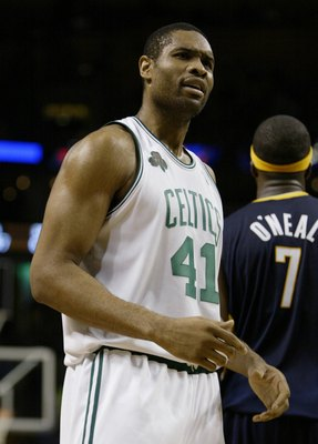 BOSTON - NOVEMBER 15:  Michael Olowokandi #41 of the Boston Celtics looks on against the Indiana Pacers on November 15, 2006 at the TD Banknorth Garden in Boston, Massachusetts. The Celtics defeated the Pacers 114-88. NOTE TO USER: User expressly acknowle