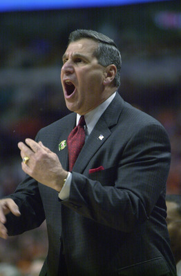 CHICAGO - MARCH 17:  Head coach Jim Harrick of the Georgia Bulldogs  yells from the sidelines during the second round of the 2002 NCAA Division I Men's Basketball Tournament against the Southern Illinois Salukis on March 17, 2002 at United Center in Chica