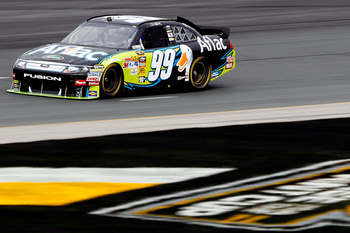 LOUDON, NH - SEPTEMBER 18:  Carl Edwards, driver of the #99 Aflac Ford, drives on track during practice for the NASCAR Sprint Cup Series Sylvania 300 at New Hampshire Motor Speedway on September 18, 2010 in Loudon, New Hampshire.  (Photo by Todd Warshaw/G