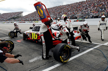 LOUDON, NH - SEPTEMBER 19:  Greg Biffle, driver of the #16 3M Ford, comes in for a pit stop during the NASCAR Sprint Cup Series Sylvania 300 at New Hampshire Motor Speedway on September 19, 2010 in Loudon, New Hampshire.  (Photo by Tom Whitmore/Getty Imag
