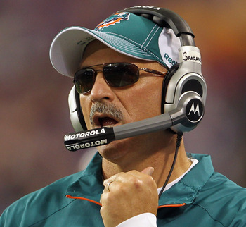 MINNEAPOLIS - SEPTEMBER 19:  Head coach Tony Sparano of the Miami Dolphins watches from the sidelines during the game against the Minnesota Vikings on September 19, 2010 at Hubert H. Humphrey Metrodome in Minneapolis, Minnesota.  (Photo by Jamie Squire/Ge