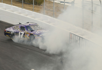 LOUDON, NH - SEPTEMBER 19:  Matt Kenseth, driver of the #17 Crown Royal Ford collides with the wall during the NASCAR Sprint Cup Series Sylvania 300 at New Hampshire Motor Speedway on September 19, 2010 in Loudon, New Hampshire.  (Photo by Elsa/Getty Imag