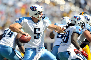 NASHVILLE, TN - SEPTEMBER 19:  Quarterback Kerry Collins #5 of the Tennessee Titans drops back to pass against the Pittsburgh Steelers at LP Field on September 19, 2010 in Nashville, Tennessee. The Steelers won 19-11.  (Photo by Grant Halverson/Getty Imag