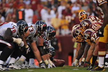 LANDOVER - SEPTEMBER 19:  The Houston Texans line up against the Washington Redskins at FedExField on September 19, 2010 in Landover, Maryland. The Texans defeated the Redskins 30-27 in overtime. (Photo by Larry French/Getty Images)