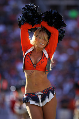 DENVER - SEPTEMBER 19:  A member of the Denver Broncos cheerleaders performs during a break in the action against the Seattle Seahawks at INVESCO Field at Mile High on September 19, 2010 in Denver, Colorado. The Broncos defeated the Seahawks 31-14.  (Phot