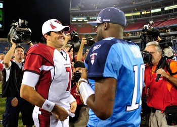 NASHVILLE, TN - AUGUST 23:  Quarterbacks Vince Young #10 of the Tennessee Titans and Matt Leinart #7 of the Arizona Cardinals talk after a preseason game at LP Field on August 23, 2010 in Nashville, Tennessee. Tennessee defeated Arizona, 24-10.  (Photo by