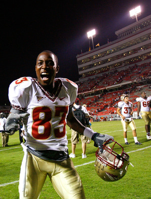 RALEIGH, NC - OCTOBER 16:  Receiver Bert Reed #83 of the Florida State Seminoles celebrates after a 26-17 win over the North Carolina State Wolfpack at Carter-Finley Stadium on September 16, 2008 in Raleigh, North Carolina.  (Photo by Kevin C. Cox/Getty I