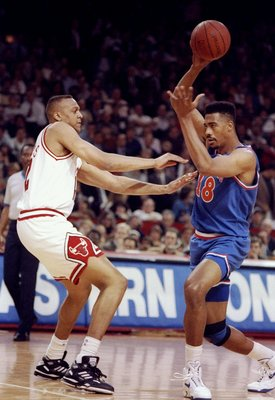27 May 1992:  Center John Williams of the Cleveland Cavaliers moves the ball during a game against the Chicago Bulls.  The Bulls won the game, 112-89. Mandatory Credit: Jonathan Daniel  /Allsport