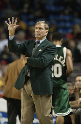 KANSAS CITY, MO - MARCH 7:  Head Coach Dave Bliss of the Baylor Bears signals to his team against the Kansas State Wildcats during the Big 12 first round game at Kemper Arena in Kansas City, Missouri on March 7, 2002.  Kansas State edged Baylor 74-73.  (P