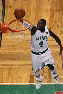 BOSTON - JUNE 13:  Nate Robinson #4 of the Boston Celtics goes to the basket against the Los Angeles Lakers during Game Five of the 2010 NBA Finals on June 13, 2010 at TD Garden in Boston, Massachusetts. The Celtics won 92-86. NOTE TO USER: User expressly