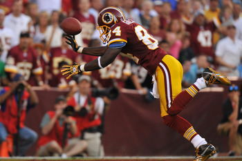 LANDOVER - SEPTEMBER 19:  Joey Galloway #84 of the Washington Redskins drops the ball in the endzone during the game against the Houston Texans at FedExField on September 19, 2010 in Landover, Maryland. The Texans defeated the Redskins 30-27 in overtime.