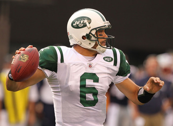 EAST RUTHERFORD, NJ - SEPTEMBER 19:  Mark Sanchez #6 of the New York Jets in action against the New England Patriots during their  game on September 19, 2010 at the New Meadowlands Stadium  in East Rutherford, New Jersey.  (Photo by Al Bello/Getty Images)