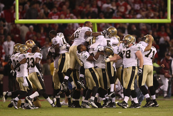 SAN FRANCISCO - SEPTEMBER 20:  Garrett Hartley #5 of the New Orleans Saints celebrates with teammates after kicking the game winning field goal against the San Francisco 49ers during an NFL game at Candlestick Park on September 20, 2010 in San Francisco,