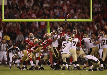 SAN FRANCISCO - SEPTEMBER 20:  Garrett Hartley #5 of the New Orleans Saints celebrates kicks the game winning field goal against the San Francisco 49ers during an NFL game at Candlestick Park on September 20, 2010 in San Francisco, California.  (Photo by
