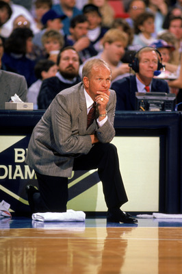 PHOENIX - 1989:  Head Coach Cotton Fitzsimmons of the Phoenix Suns looks on during a 1989 season NBA game at Veteran's Memorial Coliseum in Phoenix, Arizona.  (Photo by Otto Greule Jr/Getty Images)