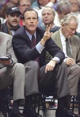 27 Jan 1998:  Head coach Doug Collins of the Detroit Pistons looks on during a game against the Milwaukee Bucks at the Bradley Center in Milwaukee, Wisconsin.  The Bucks won the game, 83-81. Mandatory Credit: Tim Broekema  /Allsport