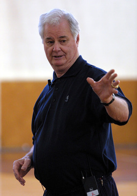 AUCKLAND, NEW ZEALAND - AUGUST 01:  Tex Winter ex NBA coach at a basketball training camp for New Zealand players at Youth town, Wednesday.  (Photo by Michael Bradley/Getty Images)