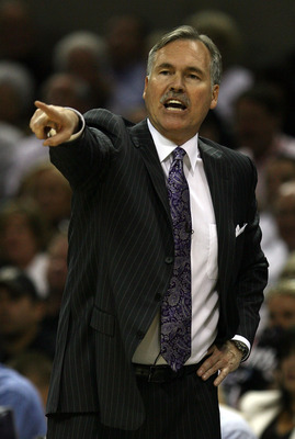 SAN ANTONIO - APRIL 19: Head coach Mike D'Antoni of the Phoenix Suns during play with the San Antonio Spurs in Game One of the Western Conference Quarterfinals during the 2008 NBA Playoffs at the AT&T Center on April 19, 2008 in San Antonio, Texas. NOTE T