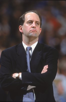 27 Mar 2001:  Head Coach Jeff Van Gundy of the New York Knicks looks on during the game against the Sacramento Kings at the Arco Arena in Sacramento, California. The Kings defeated the Knicks 124-117.  NOTE TO USER: It is expressly understood that the onl