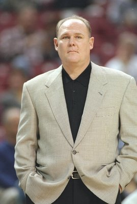 11 Nov 1996:  Coach George Karl of the Seattle Supersonics watches his players during a game against the Sacramento Kings at the Arco Arena in Sacramento, California.  The Supersonics won the game 110-94. Mandatory Credit: Otto Greule  /Allsport