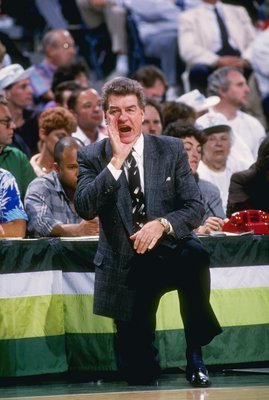 1988-1989:  Head coach Chuck Daly of the Detroit Pistons yells from the sidelines during a game against the Milwaukee Bucks at The Bradley Center in Milwaukee, Wisconsin. Mandatory Credit: Allsport  /Allsport
