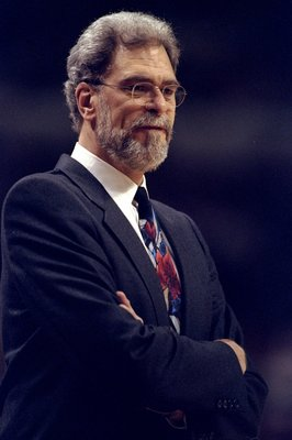 13 Apr 1998:  Chicago Bulls head coach Phil Jackson looks on during a game against the Indiana Pacers at the United Center in Chicago, Illinois. The Pacers defeated the Bulls 114-105. Mandatory Credit: Jonathan Daniel  /Allsport