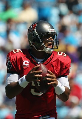 CHARLOTTE, NC - SEPTEMBER 19:  Josh Freeman #5 of the Tampa Bay Buccaneers against the Carolina Panthers during their game at Bank of America Stadium on September 19, 2010 in Charlotte, North Carolina.  (Photo by Streeter Lecka/Getty Images)