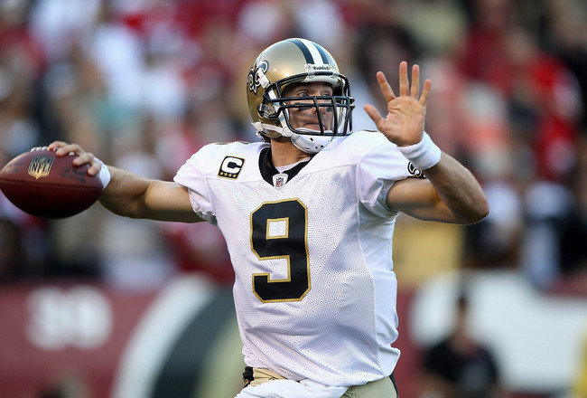 SAN FRANCISCO - SEPTEMBER 20:  Drew Brees #9 of the New Orleans Saints passes against the San Francisco 49ers during an NFL game at Candlestick Park on September 20, 2010 in San Francisco, California.  (Photo by Jed Jacobsohn/Getty Images)