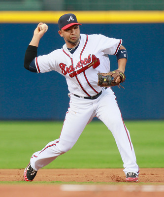ATLANTA - SEPTEMBER 09:  Alex Gonzalez #2 of the Atlanta Braves against the St. Louis Cardinals at Turner Field on September 9, 2010 in Atlanta, Georgia.  (Photo by Kevin C. Cox/Getty Images)