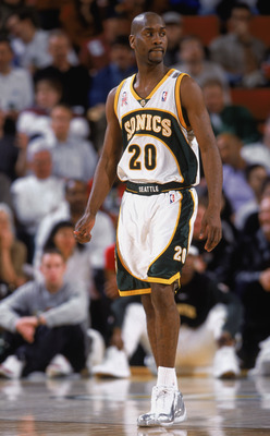 12 Feb 2002:  This is a close up of point guard Gary Payton #20 of the Seattle SuperSonics. The picture was taken during the NBA game against the Dallas Mavericks at the Key Arena in Seattle, Washington. The Mavericks defeated the Sonics 112-106.  NOTE TO