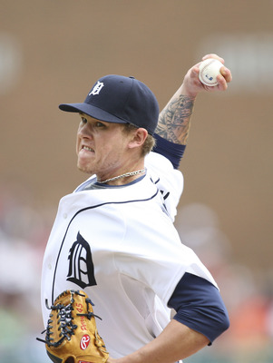 DETROIT - MAY 01:  Ryan Perry #45 of the Detroit Tigers pitches in the ninth inning and gets his first win of the year against the Los Angeles Angels of Anaheim during the game on May 1, 2010 at Comerica Park in Detroit, Michigan. The Tigers defeated the