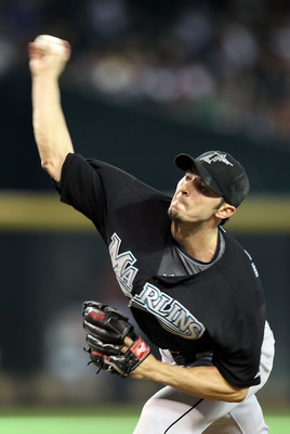PHOENIX - JULY 11:  Relief pitcher Clay Hensley #32 of the Florida Marlins pitches against the Arizona Diamondbacks during the Major League Baseball game at Chase Field on July 11, 2010 in Phoenix, Arizona.  The Marlins defeated the Diamondbacks 2-0.  (Ph