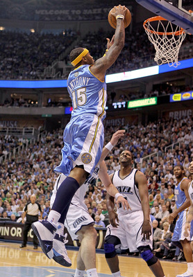 SALT LAKE CITY - APRIL 25: Carmelo Anthony #15 of the Denver Nuggets shoots the ball against the Utah Jazz during  Game Four of the Western Conference Quarterfinals of the 2010 NBA Playoffs at EnergySolutions Arena on April 25, 2010 in Salt Lake City, Uta
