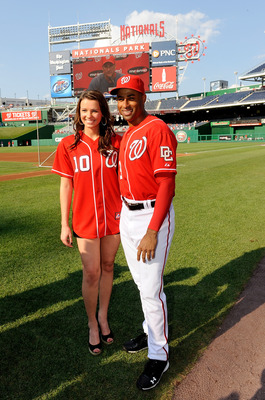 WASHINGTON - JULY 30:  Katherine Connors, Miss Iowa 2010, poses for a photo with Miguel Batista #43 of the Washington Nationals before the game against the Philadelphia Phillies at Nationals Park on July 30, 2010 in Washington, DC.  (Photo by Greg Fiume/G