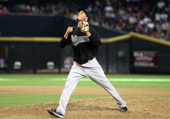 PHOENIX - JULY 11:  Relief pitcher Leo Nunez #46 of the Florida Marlins celebrates after defeating the Arizona Diamondbacks in the Major League Baseball game at Chase Field on July 11, 2010 in Phoenix, Arizona.  The Marlins defeated the Diamondbacks 2-0.