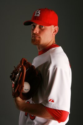 JUPITER, FL - MARCH 01:  Pitcher Kyle McClellan #46 of the St. Louis Cardinals during photo day at Roger Dean Stadium on March 1, 2010 in Jupiter, Florida.  (Photo by Doug Benc/Getty Images)