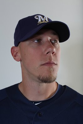 MARYVALE, AZ - MARCH 01:  Kameron Loe #73 poses for a portrait during the Milwaukee Brewers Photo Day at the Maryvale  Baseball Park on March 1, 2010 in Maryvale, Arizona.  (Photo by Jonathan Ferrey/Getty Images)