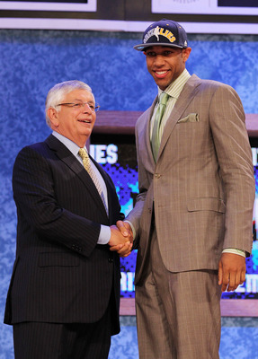 NEW YORK - JUNE 24:  Xavier Henry stands with NBA Commisioner David Stern after being drafted twelfth by  the Memphis Grizzlies at Madison Square Garden on June 24, 2010 in New York City.  NOTE TO USER: User expressly acknowledges and agrees that, by down