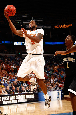 NEW ORLEANS - MARCH 18:  Damion James #5 of the Texas Longhorns shoots the ball over Al-Farouq Aminu #1 of the Wake Forest Demon Deacons during the first round of the 2010 NCAA men's basketball tournament at the New Orleans Arena on March 18, 2010 in New
