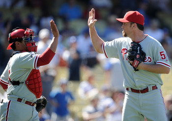 LOS ANGELES, CA - SEPTEMBER 01:  Brad Lidge #55 and Carlos Ruiz #55 of the Philadelphia Phillies celebrate a 5-1 win over the Los Angeles Dodgers during the ninth inning at Dodger Stadium on September 1, 2010 in Los Angeles, California.  (Photo by Harry H