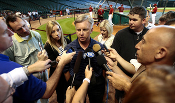 HOUSTON - MAY 21:  Ed Wade, general manager of the Houston Astros, confirms with the media that pitcher Roy Oswalt has asked to be traded as he fields questions before the game against the Tampa Bay Rays at Minute Maid Park on May 21, 2010 in Houston, Tex