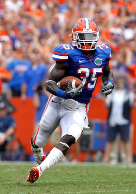 GAINESVILLE, FL - SEPTEMBER 04:  Safety Ahmad Black #35 of the Florida Gators runs after making an interception against the Miami University RedHawks at Ben Hill Griffin Stadium on September 4, 2010 in Gainesville, Florida.  (Photo by Sam Greenwood/Getty